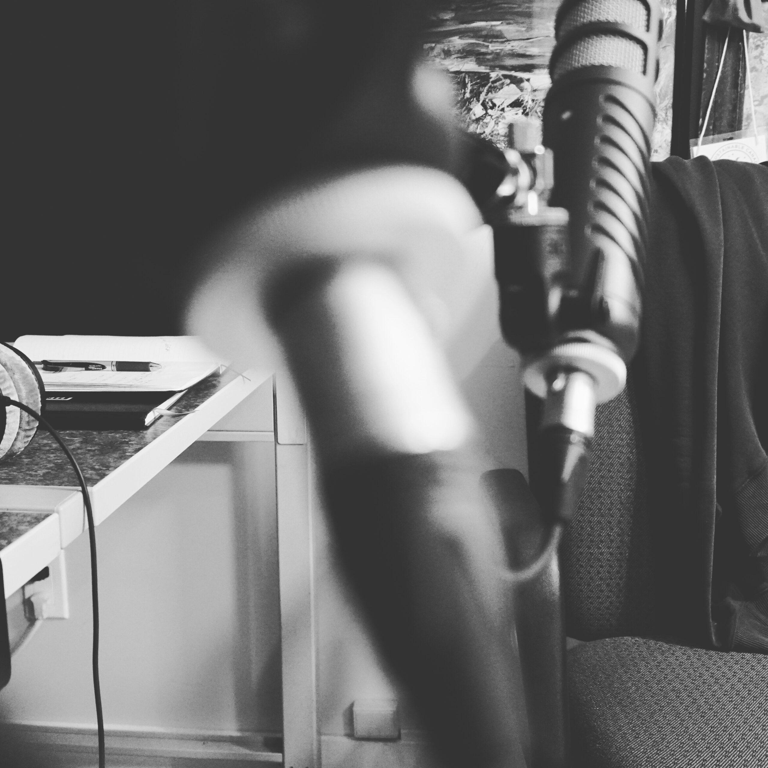 studio mood black and white setting rode microphones in audio video studio