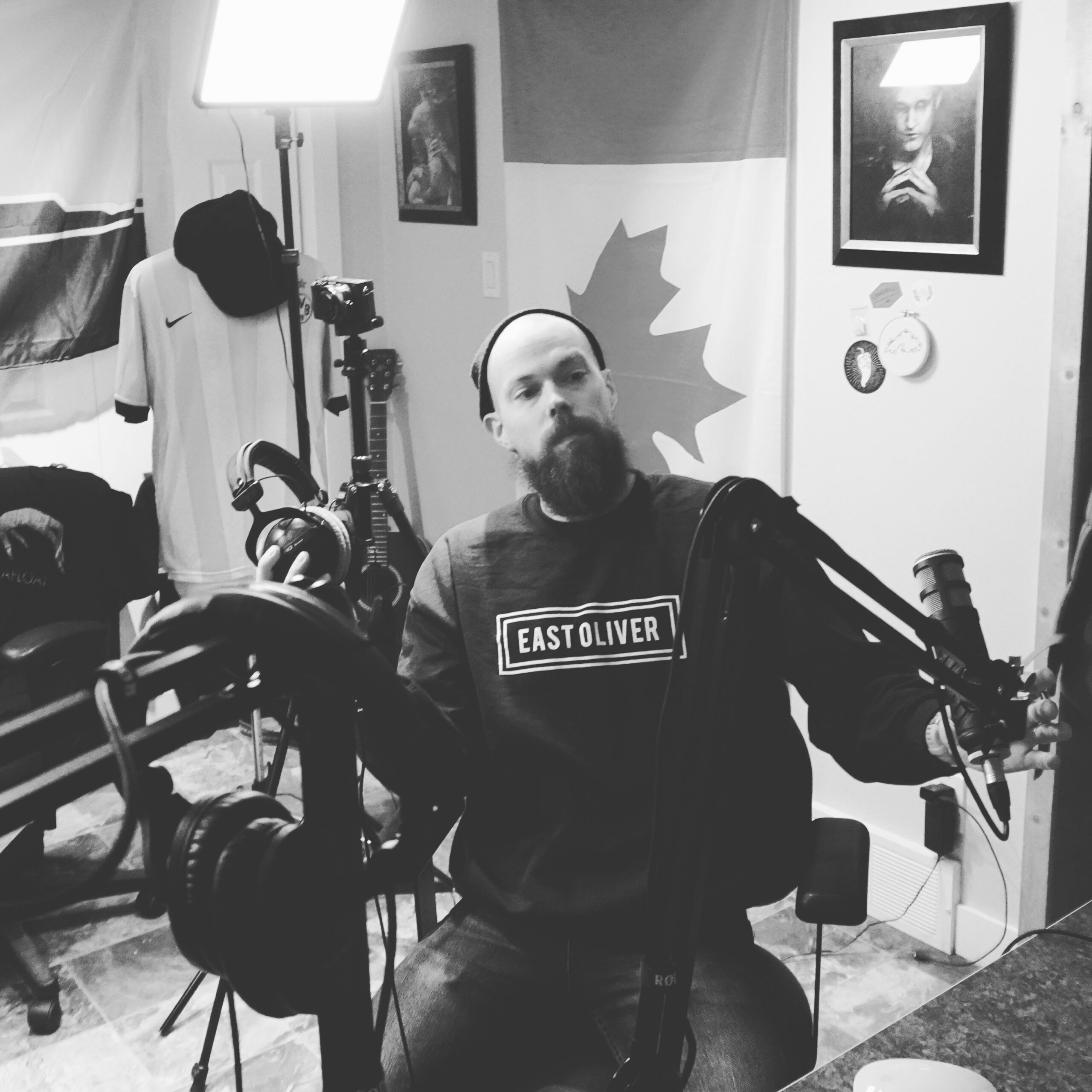 Michael Westermann setting up the studio in Thunder Bay